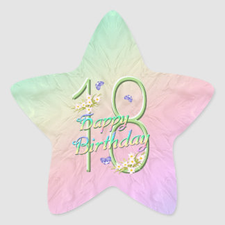 18th Birthday Butterflies and Rainbows Star Sticke Star Sticker