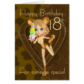 18th Birthday card, Cutie Pie Animal Collection Card