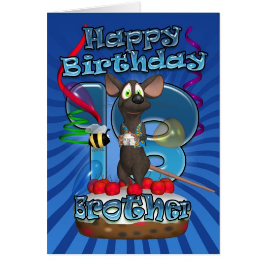 18th Birthday Card For Brother - Funky Mouse