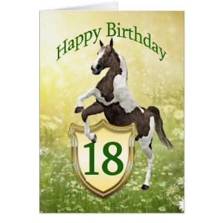 18th birthday card with a rearing horse