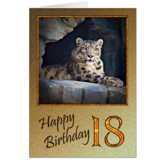 18th Birthday Card with a snow leopard