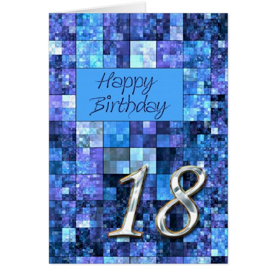 18th Birthday card with abstract squares.