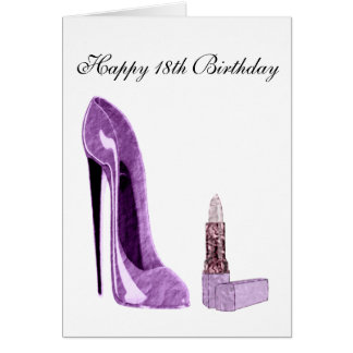 18th Birthday Card with Lilac Stiletto Shoe and Li