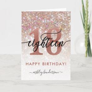 18th Birthday Chic Glitter Ombre Card