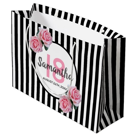 18th Birthday Chic Pink Roses Black White Stripes Large Gift Bag