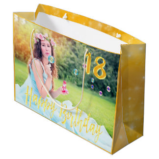 18th birthday custom photo large gift bag gold