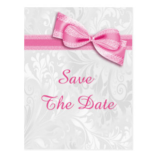 18th Birthday Damask and Faux Bow Save The Date Postcard