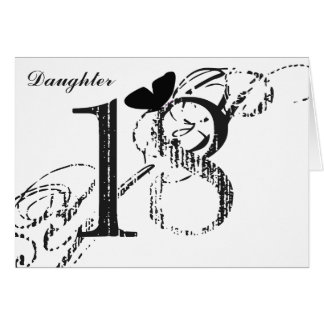 18th birthday, daughter, butterfly, black & white. card