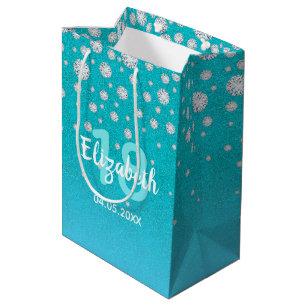 18th Birthday Diamonds Glitter On Teal Blue Green Medium Gift Bag