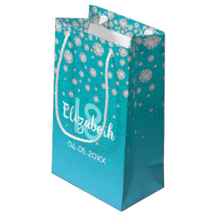 18th Birthday Diamonds Glitter On Teal Blue Green Small Gift Bag