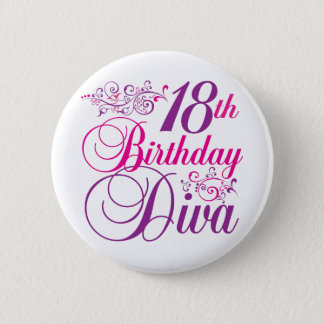 18th Birthday Diva 6 Cm Round Badge