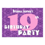 18th Birthday For Her Purple Flowers P551 Personalised Invitations