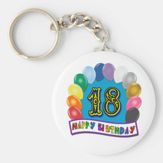 18th Birthday Gifts with Assorted Balloons Design Key Ring