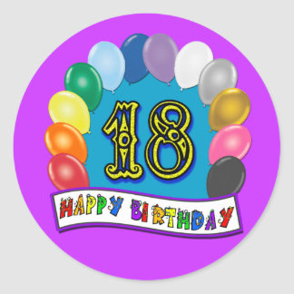 18th Birthday Gifts with Assorted Balloons Design Round Sticker