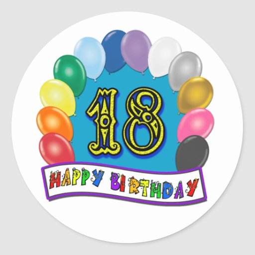 18th Birthday Gifts with Assorted Balloons Design Stickers
