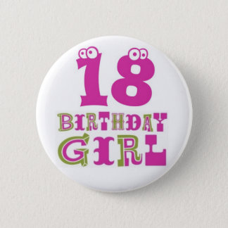 18th Birthday Girl Button Badge