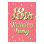18th Birthday Gold Bling Typography Confetti Pink 13 Cm X 18 Cm Invitation Card
