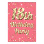 18th Birthday Gold Bling Typography Confetti Pink 13 Cm X 18 Cm Invitation Card