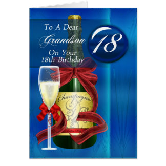 18th Birthday Grandson Modern Greeting Card