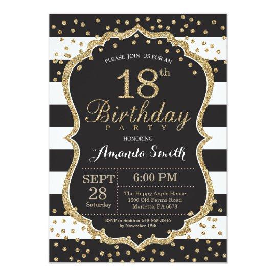 18th Birthday Invitation. Black and Gold Glitter Card