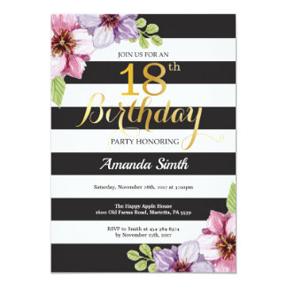 18th Birthday Invitation Women. Floral Gold Black