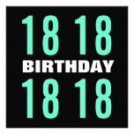 18th Birthday Modern Mint and Black D451 Personalised Announcements