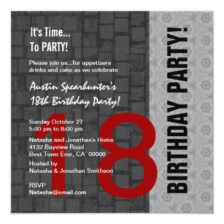 18th Birthday Modern Red Silver Black D417 13 Cm X 13 Cm Square Invitation Card