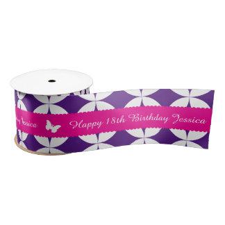 18th birthday name pink white butterfly ribbon satin ribbon