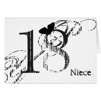 18th birthday, niece, butterfly, black & white. card