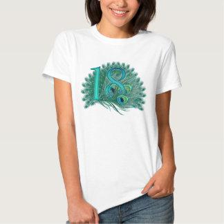 18th birthday or anniversary peacock numbers tee shirt