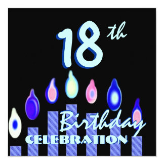18th Birthday Party Blue Aqua Striped Candles Card