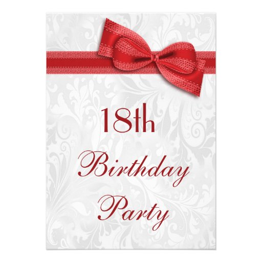 18th Birthday Party Damask and Faux Bow Custom Invite