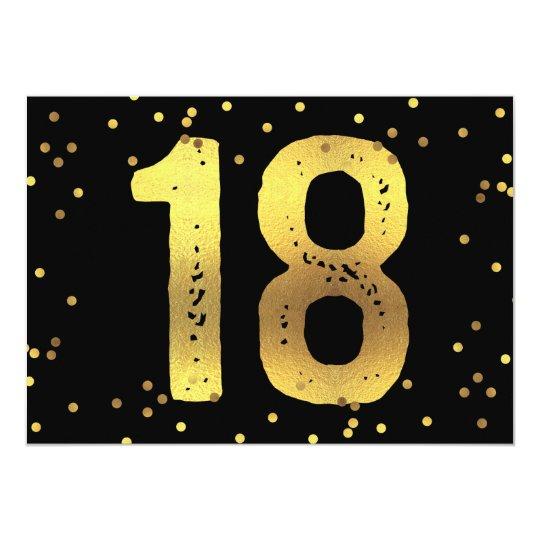 18th Birthday Party Faux Gold Foil Confetti Black