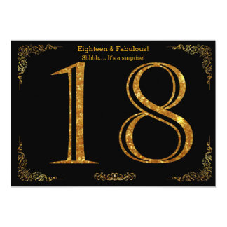 18th Birthday party,Gatsby styl,black gold glitter 13 Cm X 18 Cm Invitation Card