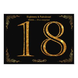 18th Birthday party,Gatsby styl,black gold glitter Card