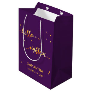 18th Birthday Party Gold Purple Hello Eighteen Medium Gift Bag