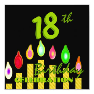 18th Birthday Party Green Gold Candles W1188 13 Cm X 13 Cm Square Invitation Card