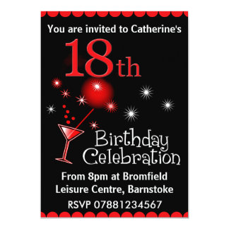 "18th Birthday Party Invitation 5"" X 7"" Invitation Card"