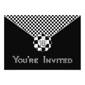 18th BIRTHDAY PARTY INVITATION - BLK/WHT ENVELOPE