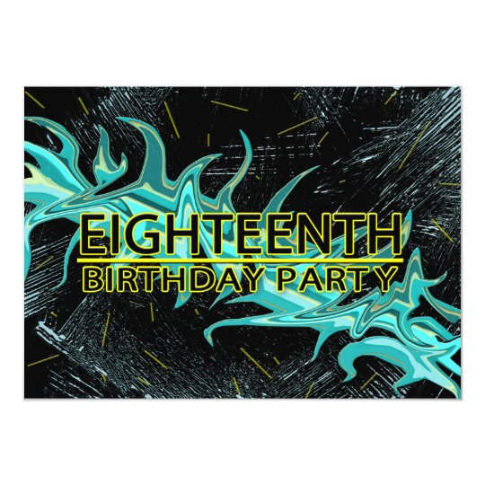 18TH BIRTHDAY PARTY INVITATION - BLUE/BLACK/YELLOW