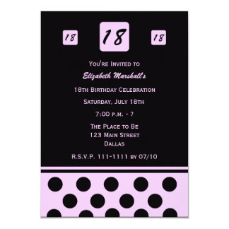 18th Birthday Party Invitation Modern 18 in Pink
