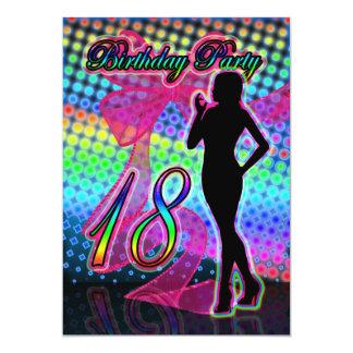 18th Birthday Party Invitation, Neon With Female S 13 Cm X 18 Cm Invitation Card
