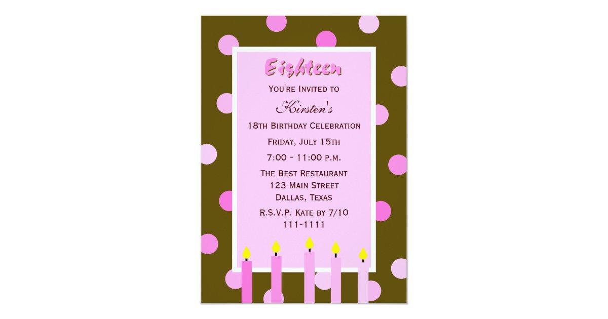 18th Birthday Party Invitation -- Pink Polka Dots   Zazzle.co.uk