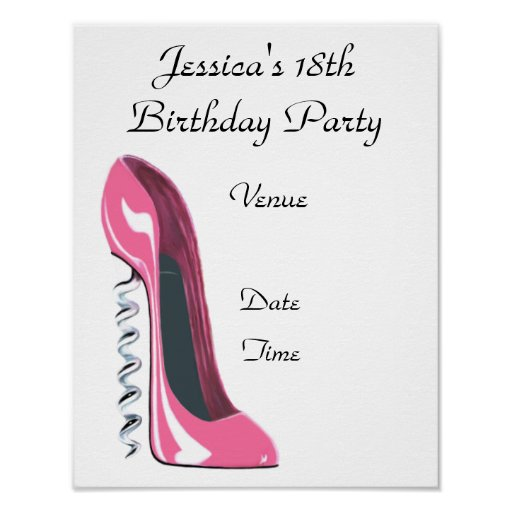 18th Birthday Party Poster with Pink Corkscrew Sti