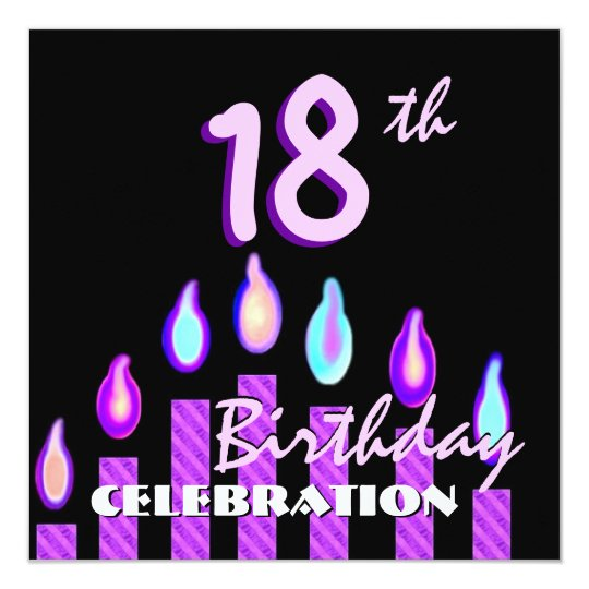 18th Birthday Party Purple Pink Striped Candles Card