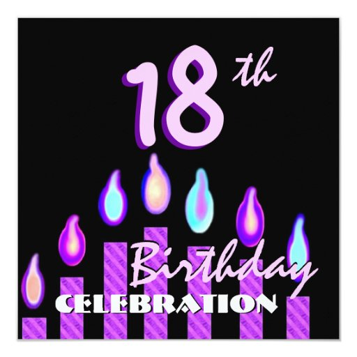 18th Birthday Party Purple Pink Striped Candles 13 Cm X 13