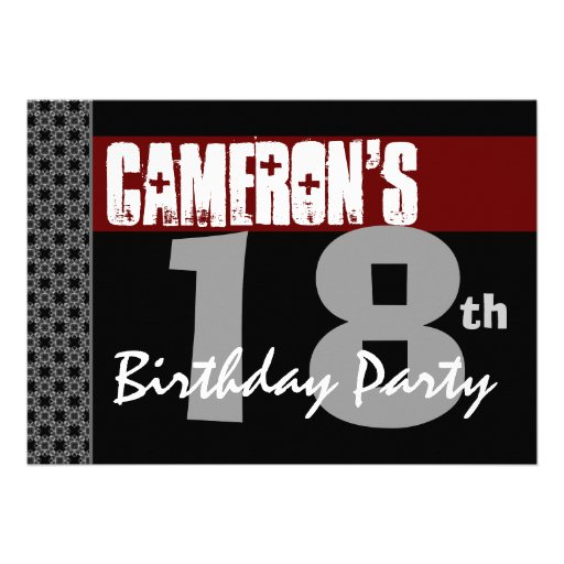 18th Birthday Party Red Black and White For Him Personalized Invite