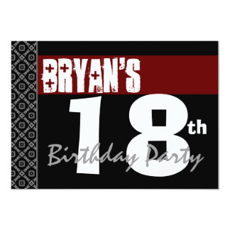 """18th Birthday Party Red Black and White For Him 5"""" X 7"""" Invitation Card"""
