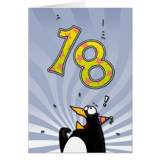 18th Birthday - Penguin Surprise Card