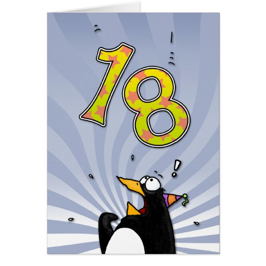 18th Birthday - Penguin Surprise Card